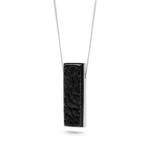 Carbonised necklace from the Shou Sugi Ban collection, handcrafted by Julie Bégin using pure sterling silver and hand charred wood.