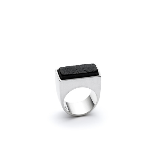 Scorched ring from the Shou Sugi Ban collection, handcrafted by Julie Bégin using pure sterling silver and hand-charred wood.