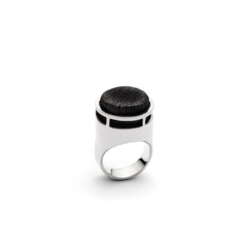 The Transmutation ring from the Shou Sugi Ban collection, handcrafted by Julie Bégin using pure sterling silver and hand charred wood.