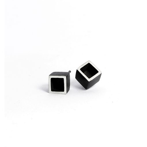 Black box earrings from the Celebration collection, handcrafted by Julie Bégin using oxidised sterling silver.