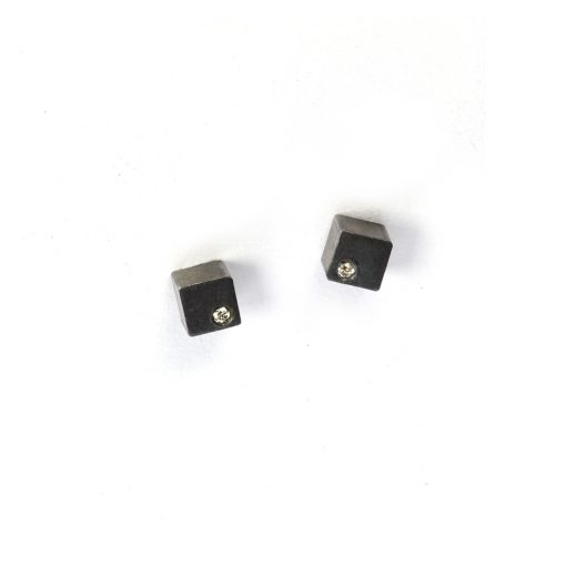 Tiny cube earrings from the Celebration collection, handcrafted by Julie Bégin using oxidised sterling silver and genuine diamonds.