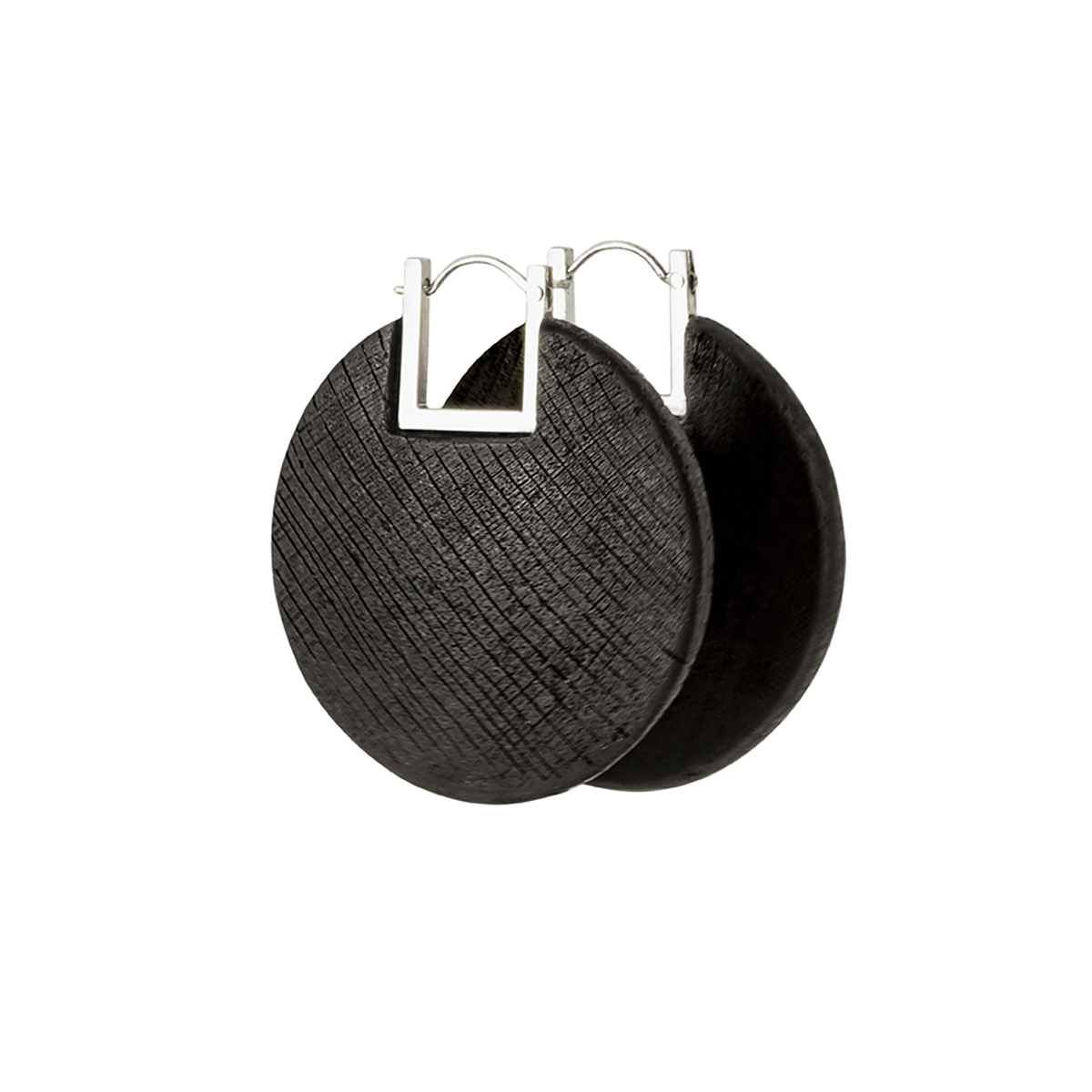 Momentum earrings from the Quantum collection, handcrafted by Julie Bégin using pure sterling silver and hand charred wood.