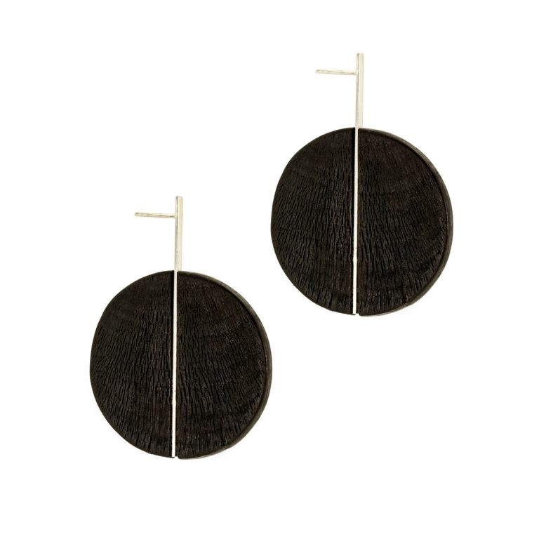 Duality earrings from the Quantum collection, handcrafted by Julie Bégin using pure sterling silver and hand charred wood.