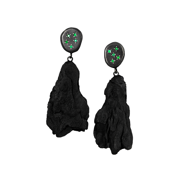 Single edition earrings from the ENVY collection, handcrafted by Julie Bégin using sterling silver, hand-charred wood and emeralds.