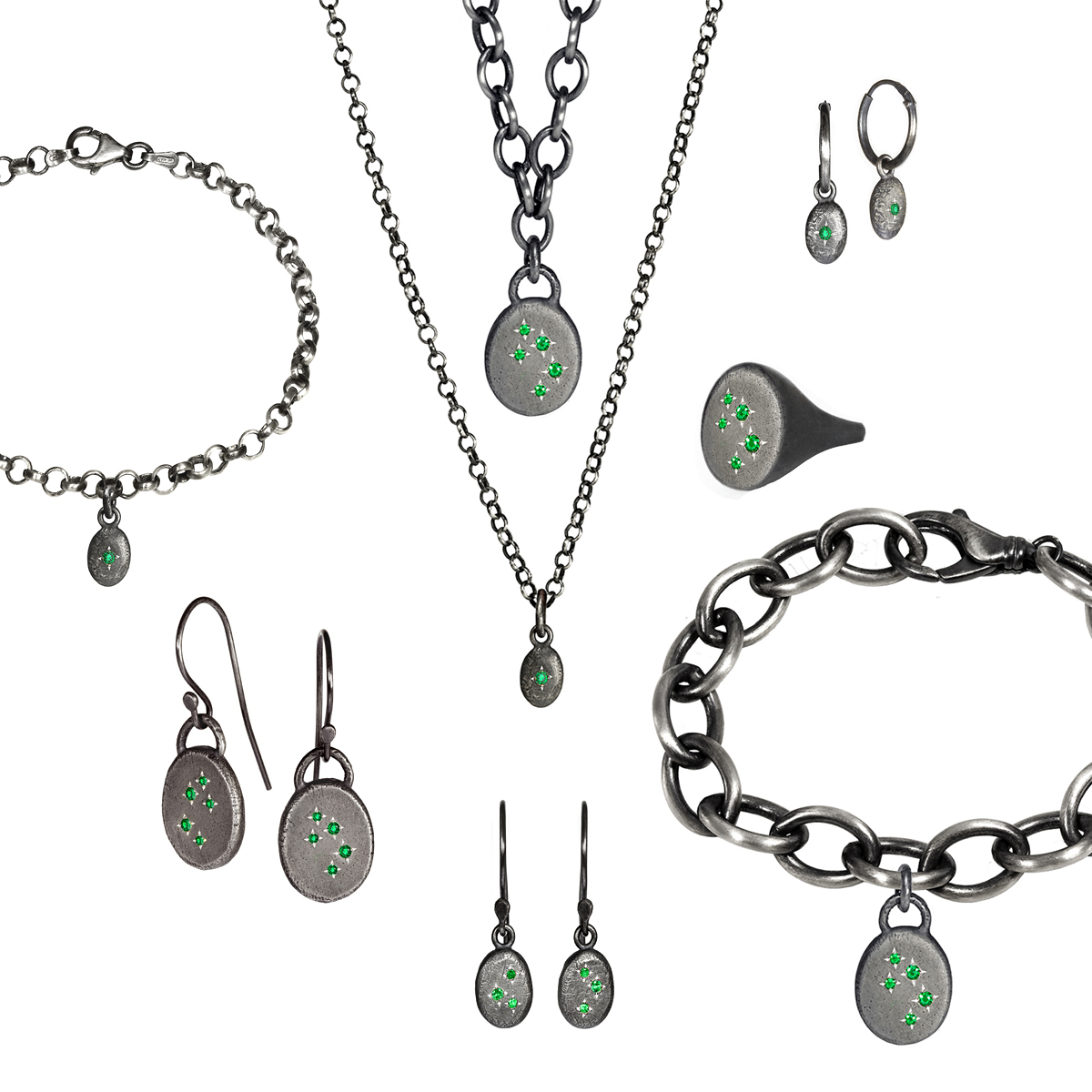 The ENVY jewellery collection, handcrafted by Julie Bégin using aged sterling silver and genuine emeralds.