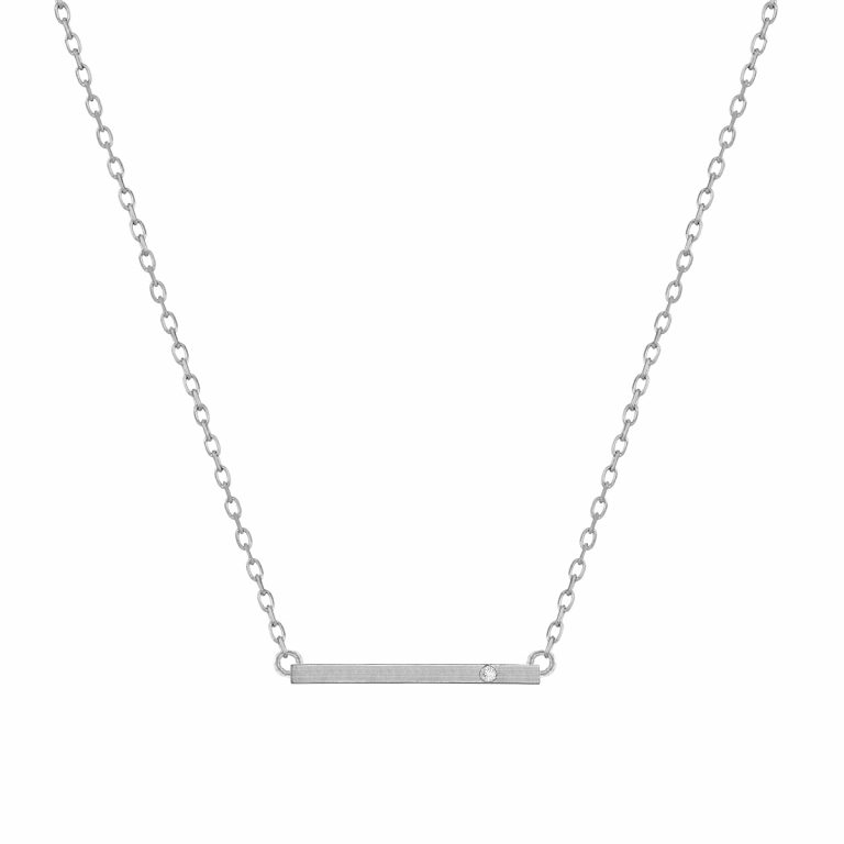 Bar Pendant in 14k white Gold with Diamond