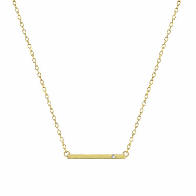 Bar Pendant in 14k Yellow Gold with Diamond