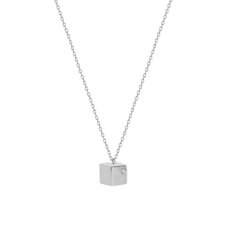Cube Pendant in 14k white Gold with Diamond