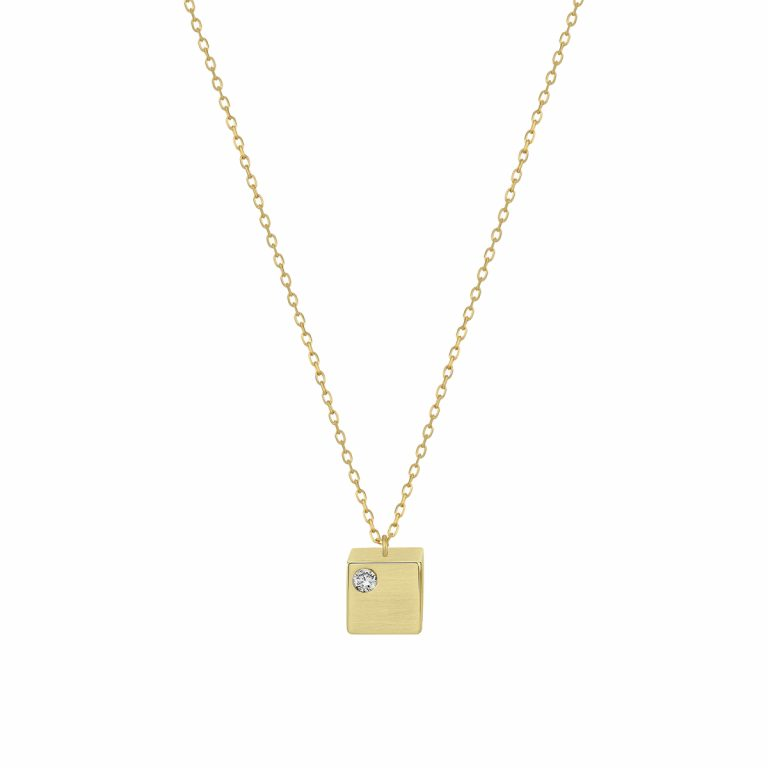 Cube Pendant in 14k Yellow Gold with Diamond