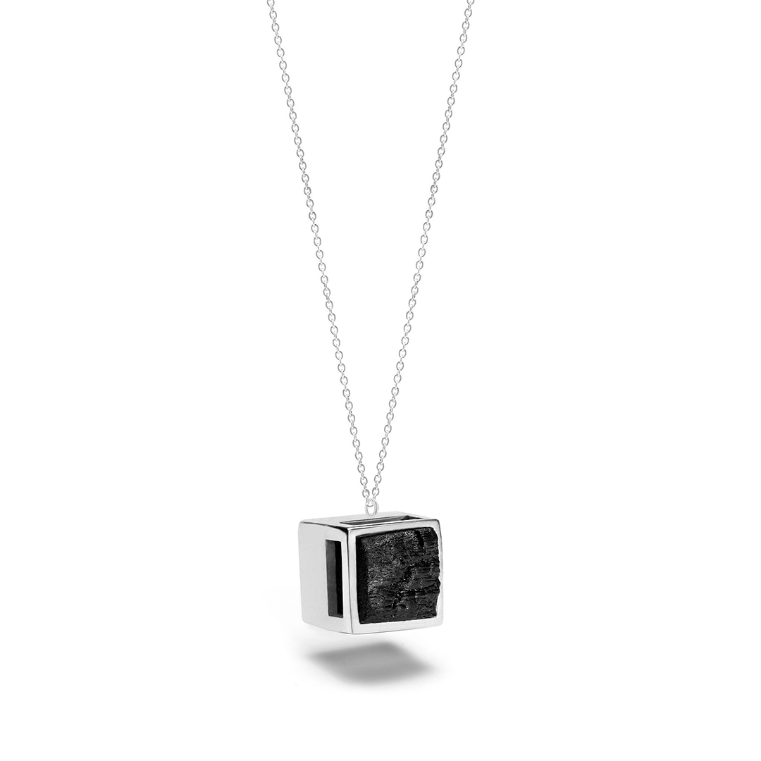 Transition necklace from the Shou Sugi Ban collection, handcrafted by Julie Bégin using pure sterling silver and hand charred wood.