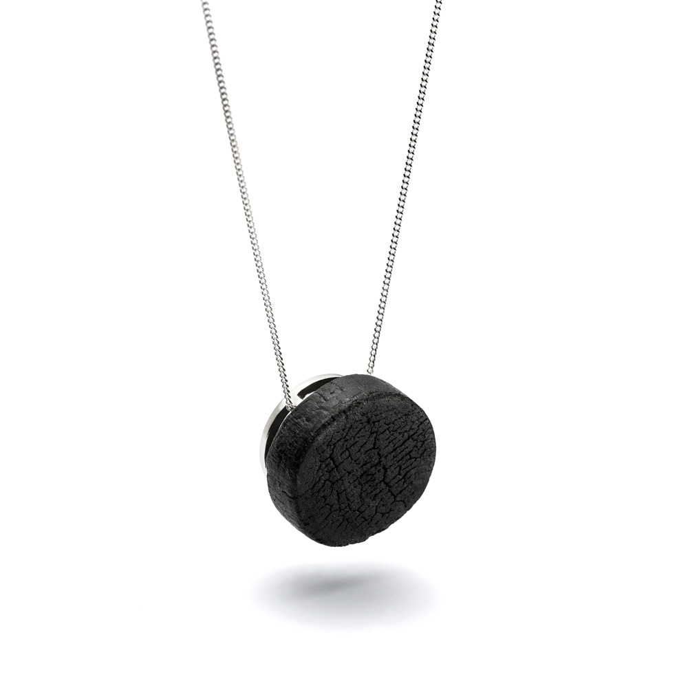 Mutation necklace from the Shou Sugi Ban collection, handcrafted by Julie Bégin using pure sterling silver and hand charred wood.