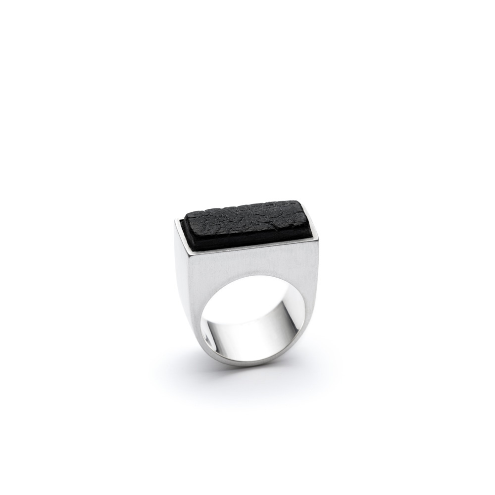 The Scorched ring from the Shou Sugi Ban collection, handcrafted by Julie Bégin using pure sterling silver and hand charred wood.